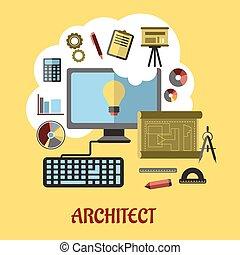 arquitecto, o, educación, concepto