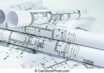 arquitecto, rollos, y, casa, planes