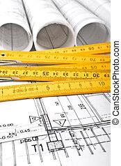 arquitecto, rollos, y, planes