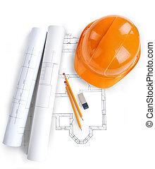 arquitecto, rollos, y, plans.architect