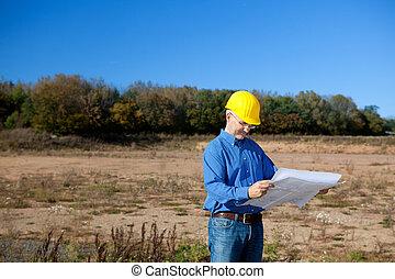 arquitecto, tenencia, cianotipo, en, interpretación el sitio