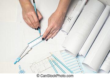 arquitecto, trabajando, cianotipo