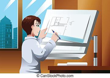 arquitecto, trabajando, en, la oficina