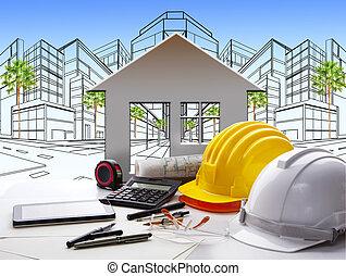 arquitecto, trabajando, tabla, con, industria de la construcción, y, ingeniero, trabajando, herramienta, encima de, tabla, uso, para, bienes raíces, y, propiedad, desarrollo de tierra, tema