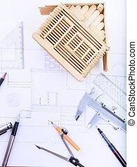 arquitecto, trabajando, tabla, con, plan, hogar, modelo, y, escritura, instrum