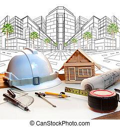 arquitecto, trabajando, tabla, y, dos, punto, perspectiva, moderno, buildin