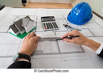 arquitecto, trabajo encendido, cianotipo