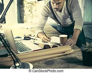 arquitecto, trabajo encendido, dibujo, tabla, en, oficina