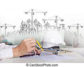 arquitecto, trabajo encendido, talbe, con, el bosquejar, y, construcción edificio, para, multiuso