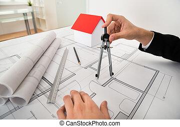 arquitecto, utilizar, compás, en, cianotipo