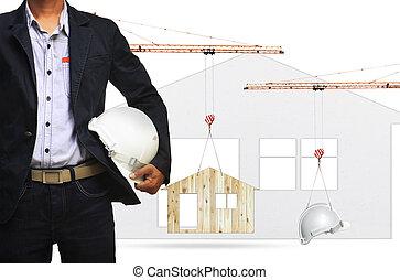 arquitecto, y, grúa construcción, elevación, hogar, y, casco de seguridad, blanco, plano de fondo, uso, para, industria de la construcción, y, residencia, bienes raíces, desarrollo de tierra