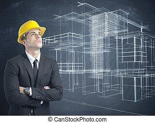 arquitecto, y, proyecto, de, moderno, edificios