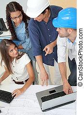 arquitectos, reunión, grupo, joven, empresa / negocio