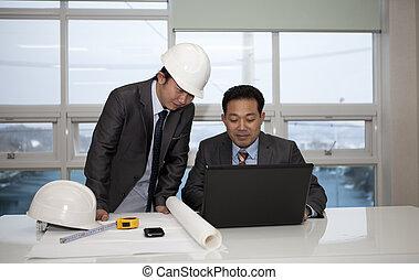 arquitectos, trabajo encendido, planificación