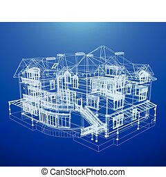 arquitectura, cianotipo, de, un, casa