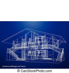arquitectura, cianotipo, de, un, house., vector