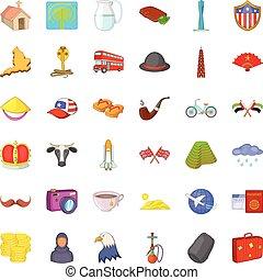 arquitectura de mundo, iconos, conjunto, caricatura, estilo