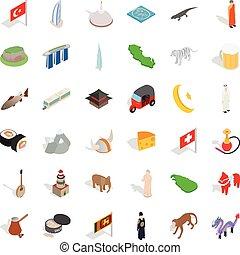 arquitectura de mundo, iconos, conjunto, isométrico, estilo