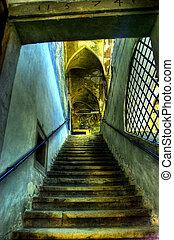 arquitectura, de, viejo, pasillo