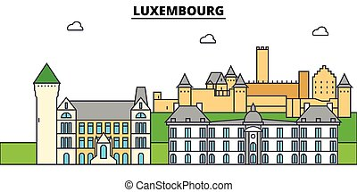 arquitectura, diseño, edificios, contorno, vector, landmarks., aislado, luxembourg., ciudad, ilustración, editable, strokes., silueta, línea, plano, concept., panorama, iconos, calles, conjunto, paisaje