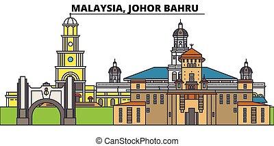 arquitectura, diseño, edificios, contorno, vector, malasia, ...