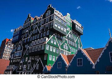 arquitectura, en, zaandam, países bajos
