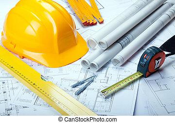 arquitectura, herramientas, en, planos