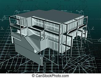 arquitectura, modelo, casa, con, blueprint., vector