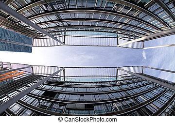 arquitectura moderna, en, munich, germany., concepto de la corporación mercantil