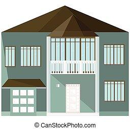 arquitectura moderna, fachada, edificio, vector, ilustración, casa azul
