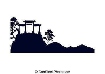 arquitectura, monumentos, japonés, monte, archs
