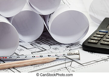 arquitectura, planos, foco selectivo