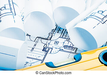 arquitectura, planos, tono azul