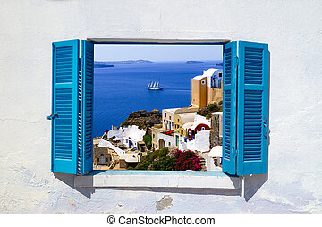 arquitectura tradicional, de, oia, aldea, en, isla de...