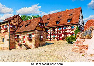 arquitectura tradicional, en, el, pueblo viejo, en, nuremberg, alemania