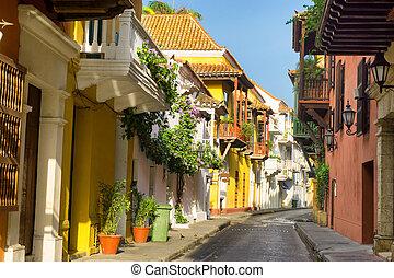 arquitectura, vista, colonial, calle