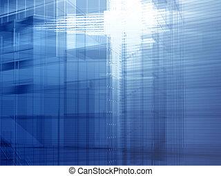 arquitetônico, aço, azul