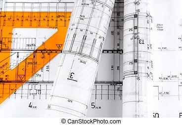 arquitetônico, arquitetura, pl, rolos