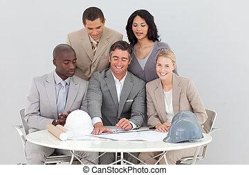 arquitetônico, estudar, planos, pessoas negócio