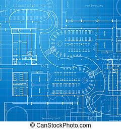 arquitetônico, fundo, blueprint.