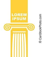 arquitetônico, logo., elemento, de, colunas gregas, capital., vetorial, emblema