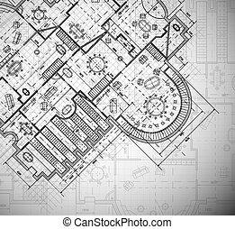 arquitetônico, plano