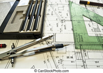 arquitetônico, plano, projec