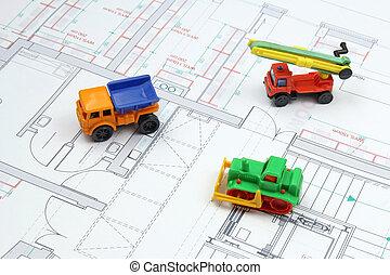 arquitetônico, planos, e, brinquedo, escavadora, caminhão basculante