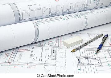 arquitetônico, planos, e, ferramentas
