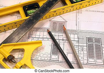 arquitetônico, planos, e, ferramentas, para, remodelar, um,...