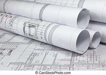 arquitetônico, projetos
