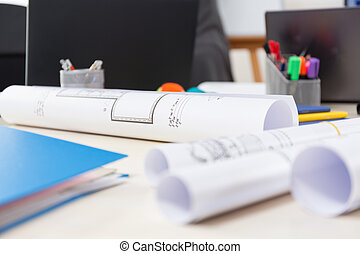 arquitetônico, projetos, escrivaninha
