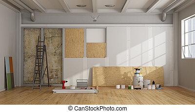 arquitetônico, restauração, e, isolação, de, um, antigas, parede
