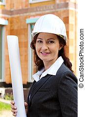 arquiteta, com, blueprint, ligado, local construção